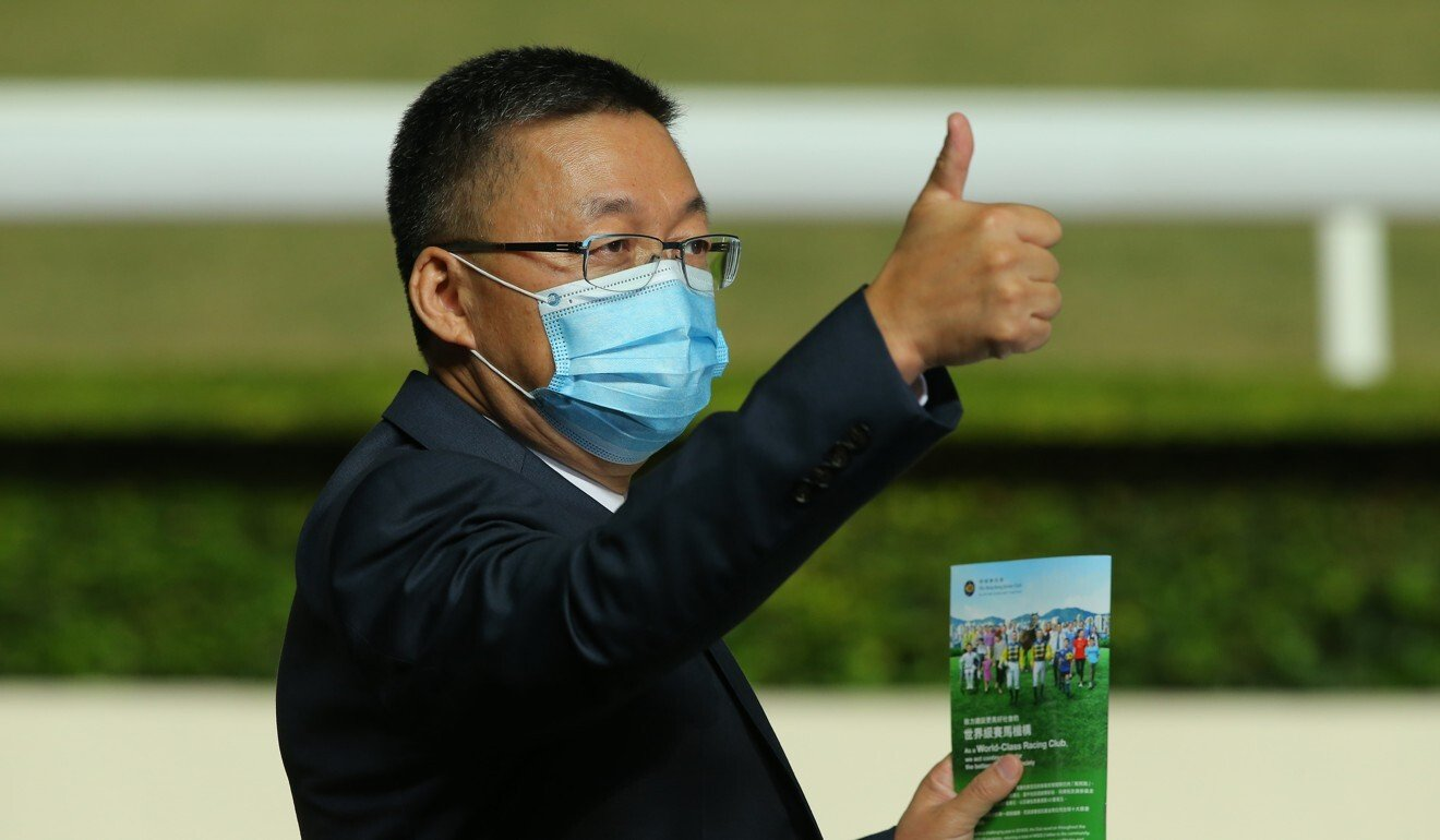 Francis Lui salutes after Lucky Patch's victory in December.