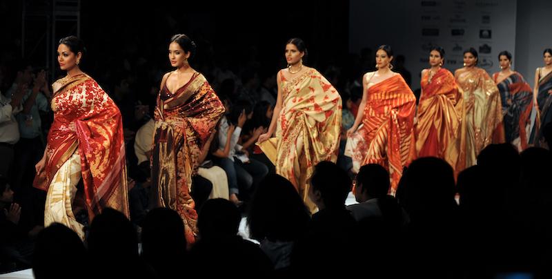In this file photo taken on September 12, 2009 models display creations by designer Satya Paul during the Kolkata Fashion Week II in Kolkata. — AFP pic