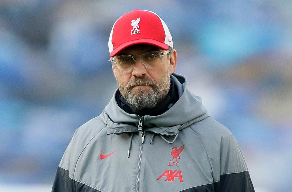 Liverpool manager Juergen Klopp during the warm up before the EPL match away to Brighton November 28, 2020. — Pool pic via Reuters