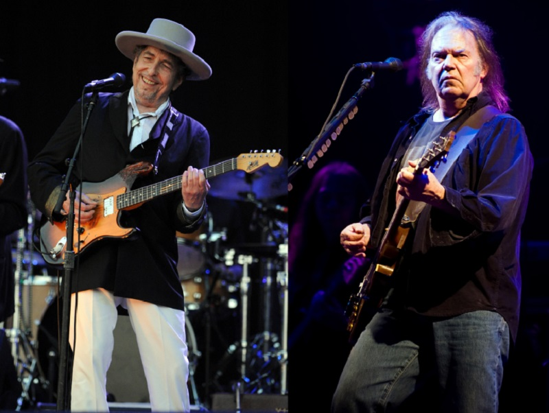 Bob Dylan (left) and Neil Young (right) are among the musicians who have recently sold the rights to their song catalogues. ― AFP pic