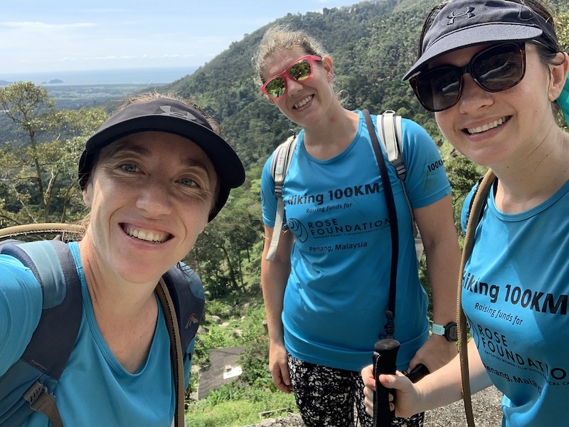 From left: Greer Hawley, Sam Williams and Rebecca Roberts in Teluk Bahang during their 100km hike for cervical cancer awareness last month. — Picture courtesy of Rebecca Roberts