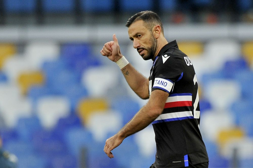Fabio Quagliarella in action against Napoli at the Diego Armando Maradona stadium in Naples December 13, 2020. — Reuters pic
