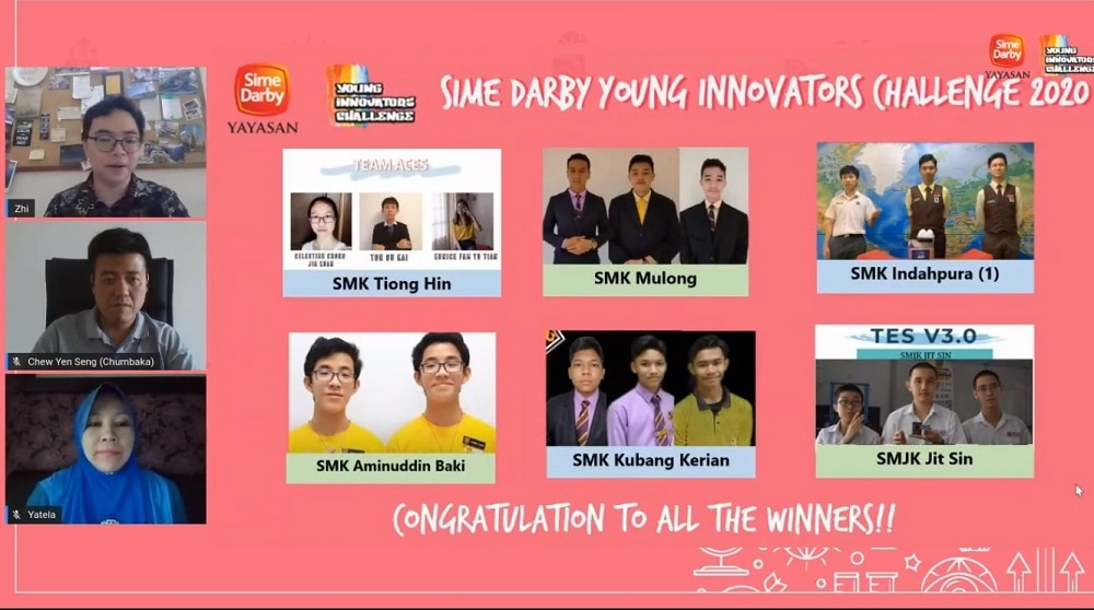 The SDYIC Grand Finale 2020 and this year's finalist teams, showcasing this year's award. ― Picture courtesy of Yayasan Sime Darby
