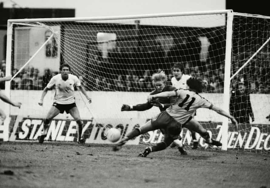 Watford's Jan Lohman shoots past Gary Bailey to score the winner at Vicarage Road in 1982.