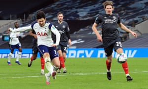 Tottenham Hotspur's Son Heung-min fires home to double the home side's lead.