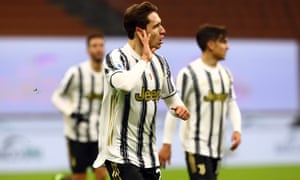 Federico Chiesa celebrates after scoring his, and Juventus', second goal.