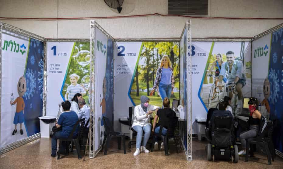 People receive coronavirus vaccines in Ramat Gan, Israel