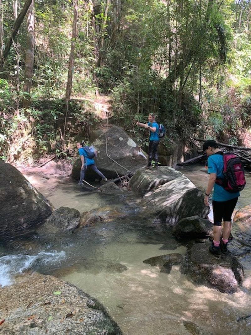 Crossing a river near Batu Ferringhi. — Picture courtesy of Rebecca Roberts