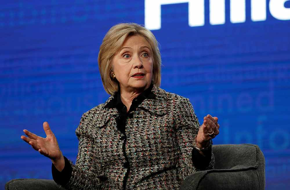 Former US Secretary of State Hillary Clinton speaks at a panel for the Hulu documentary 'Hillary' during the Winter TCA (Television Critics Association) Press Tour in Pasadena, California January 17, 2020. — Reuters pic