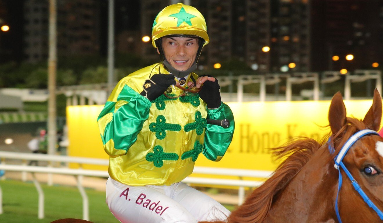 Alexis Badel is all smiles after saluting aboard Sky Field on Wednesday night.