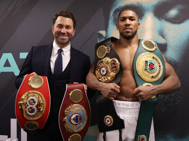 Anthony Joshua with promoter Eddie Hearn
