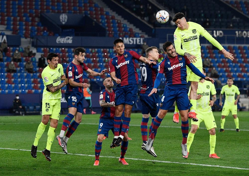 Atletico Madrid's Jose Gimenez in action during the match against Levante at the Estadi Ciutat de Valencia stadium in Valencia February 17, 2021. — Reuters pic