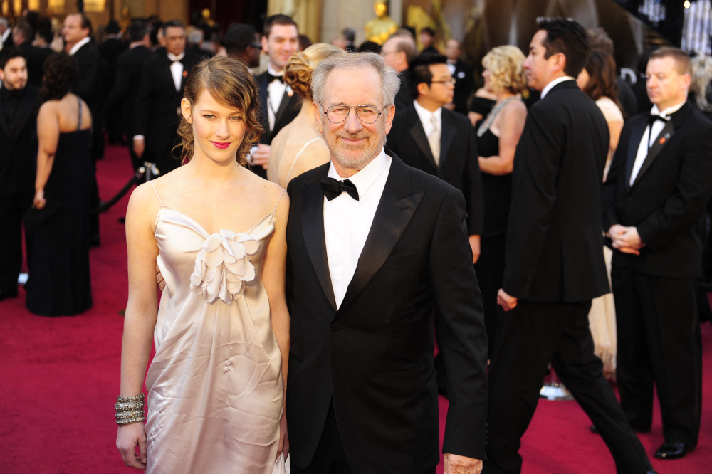 In this file photo taken February 28, 2011, director Steven Spielberg and daughter Sasha spielberg (aka Buzzy Lee) arrive for the 83rd Annual Academy Awards held at the Kodak Theatre in Hollywood, California. — AFP pic