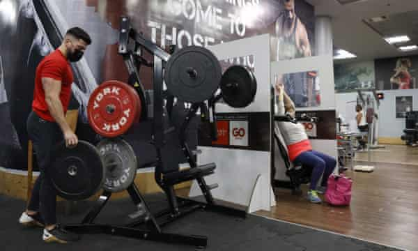 Green pass holders working out at a gym in Netanya, Israel.