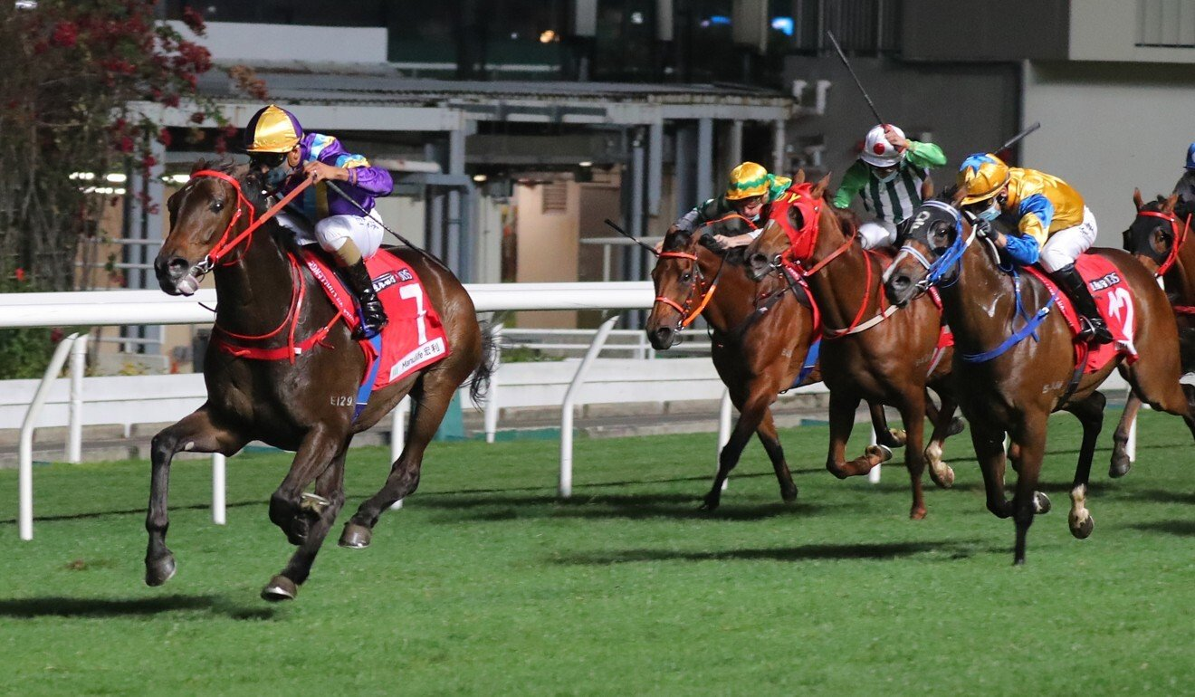 Charity Fun gaps his rivals to salute at Happy Valley.