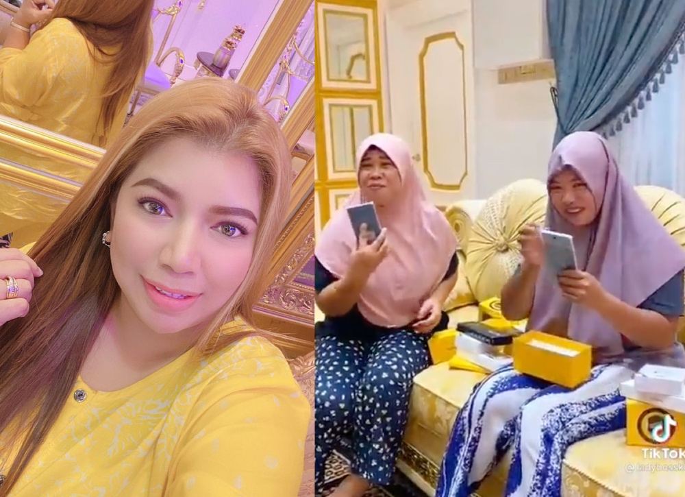 Hartini (left) surprised her maids with the new phones in a video she posted to her TikTok page. — Pictures via Instagram/tinie.sulaiman and TikTok/ladybosskc