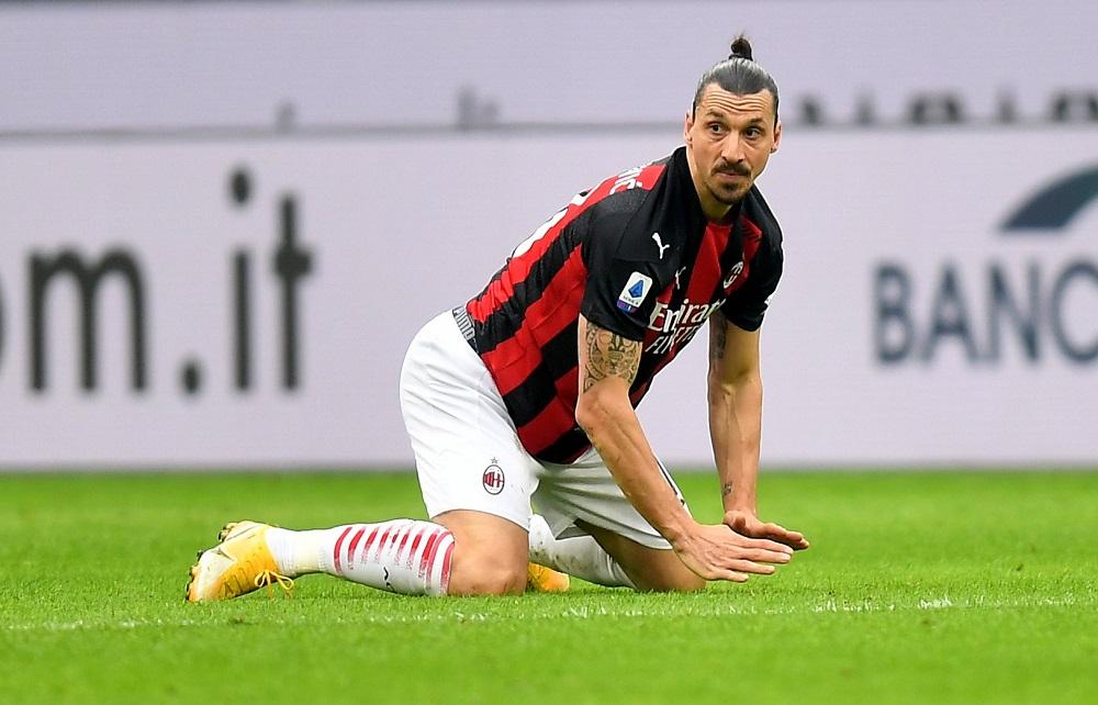 AC Milan's Zlatan Ibrahimovic reacts during the match against Inter Milan at the San Siro stadium in Milan February 21, 2021. — Reuters pic