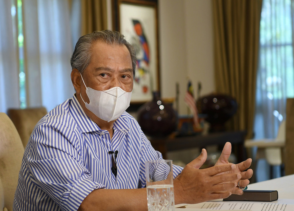 Prime Minister Tan Sri Muhyiddin Yassin during a special interview with several media organisations on his first year in office at his residence in Bukit Damansara, February 28, 2021.— Bernama pic