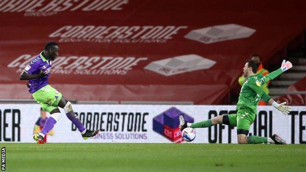 Famara Diedhiou scores his second goal for Bristol City at Middlesbrough