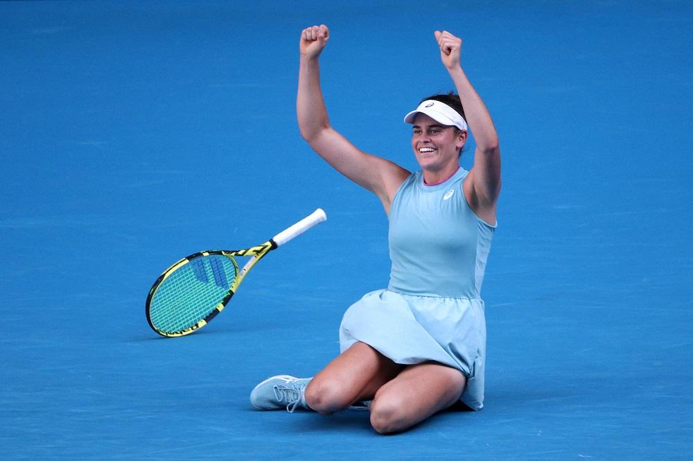 Jennifer Brady of the US celebrates winning her semi final match against Czech Republic's Karolina Muchova in Melbourne February 18, 2021. ― Reuters pic