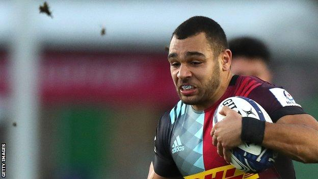 Joe Marchant featured for Harlequins in their win against Leicester on Saturday