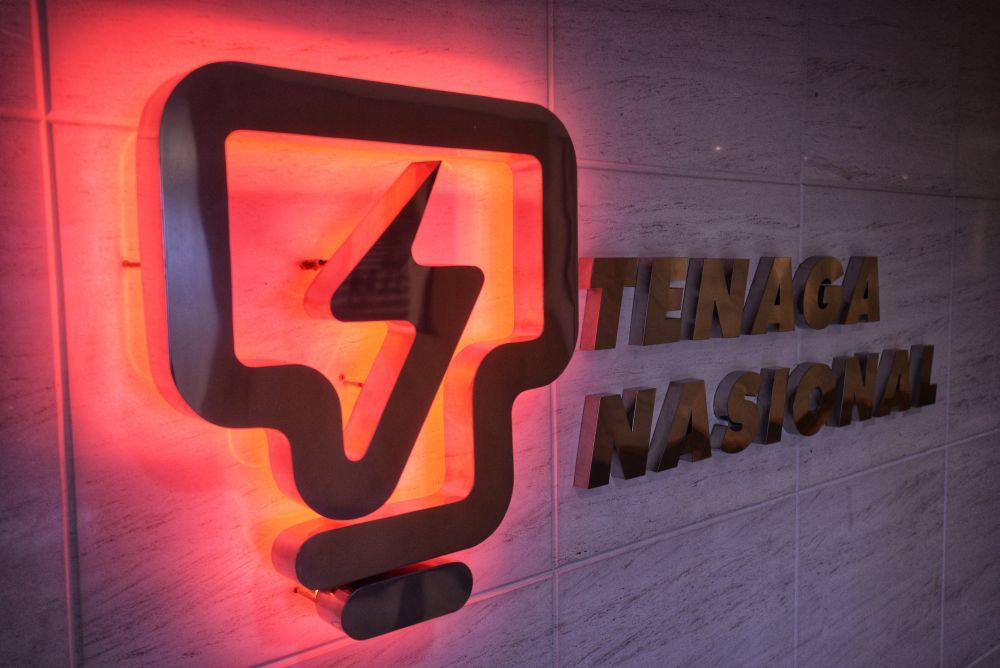 The Tenaga Nasional Berhad logo is seen at its headquarters in Bangsar May 31, 2019. — Picture by Shafwan Zaidon
