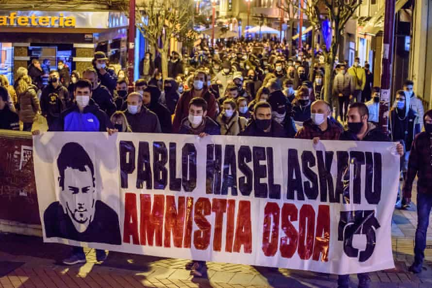 People rally in support of Pablo Hasel in Vizcaya in the Basque region.