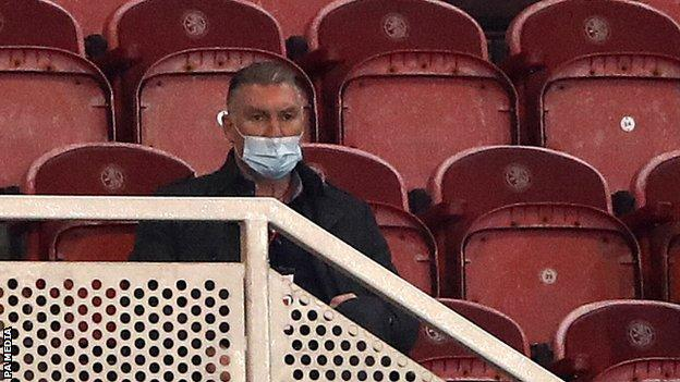 Nigel Pearson watches Middlesbrough v Bristol City from the stands