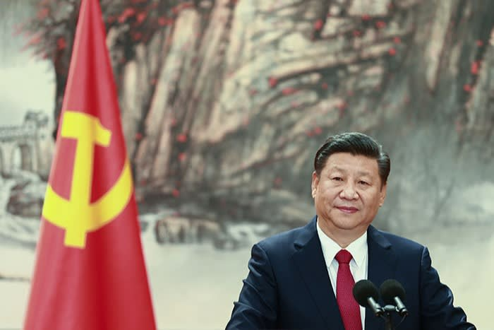 Chinese president Xi Jinping speaking in Beijing in 2017. Under his rule, China has become more assertive