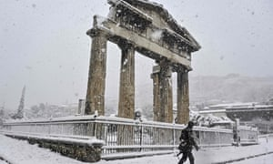 snow covered Roman remains in Athens