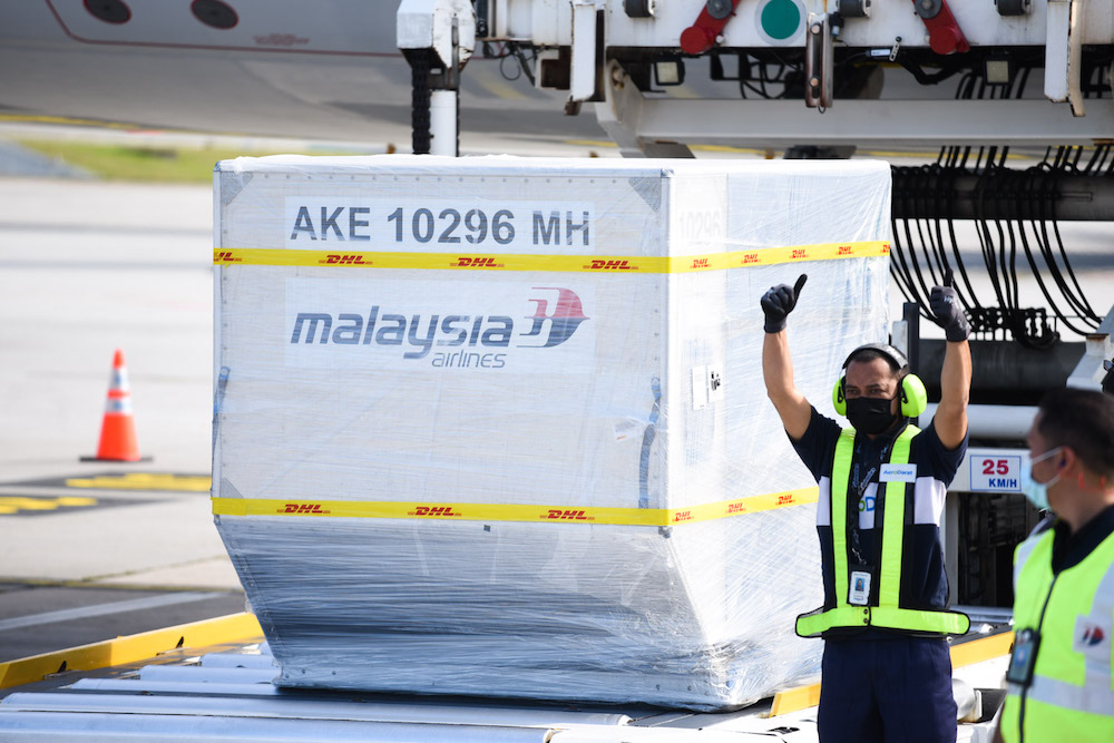 The first shipment of Pfizer-BioNTech Covid-19 vaccine arrives in Malaysia, February 21, 2021. — Picture courtesy of Jabatan Penerangan Malaysia