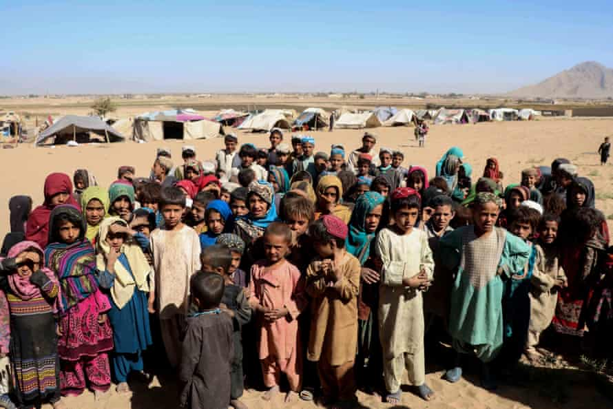 Children live in temporary shelters in Maiwand and Panjwayi district, in Kandahar, According to UNHCR, there are now almost 2.5 million registered refugees from Afghanistan.