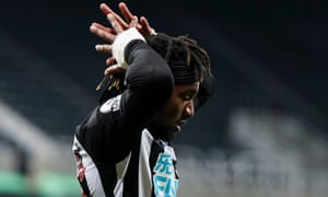Allan Saint-Maximin of Newcastle United dejected after his goal is ruled offside.