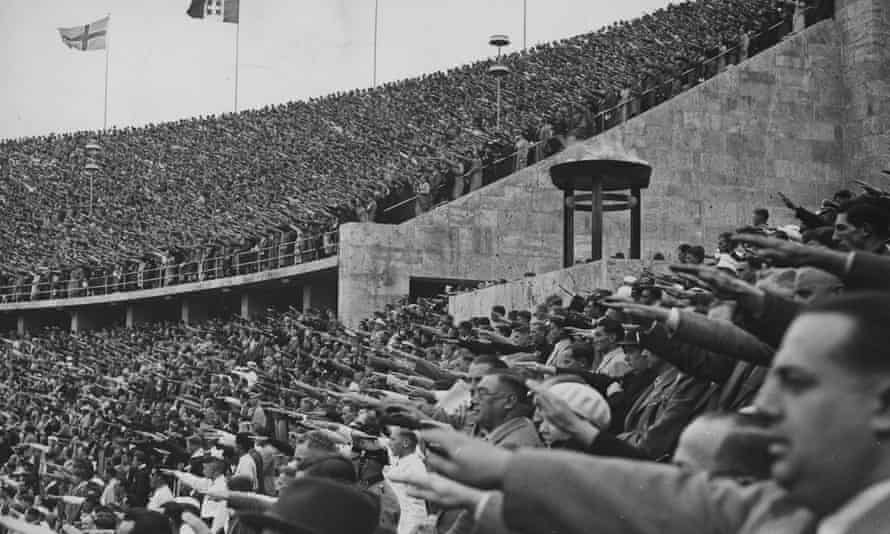 Spectators in the Olympic stadium during a victory ceremony at the 1936 Games.