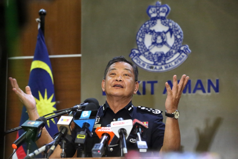 Inspector-General of Police Tan Sri Abdul Hamid Bador said the police are actively gathering evidence that can implicate them and the Narcotics Criminal Investigation Department has made seizures of up to billons of ringgit involving the syndicates. — Picture by Choo Choy May