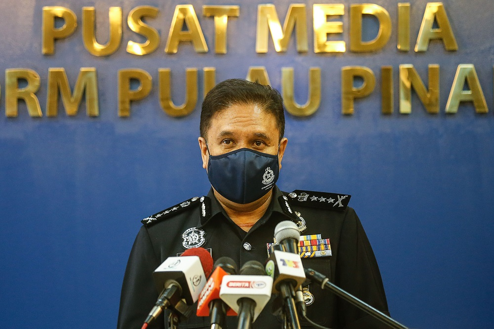 Penang police chief Datuk Sahabudin Abd Manan at a press conference at the Penang Police Contingent headquarters in George Town March 15, 2021. —  Picture by Sayuti Zainudin