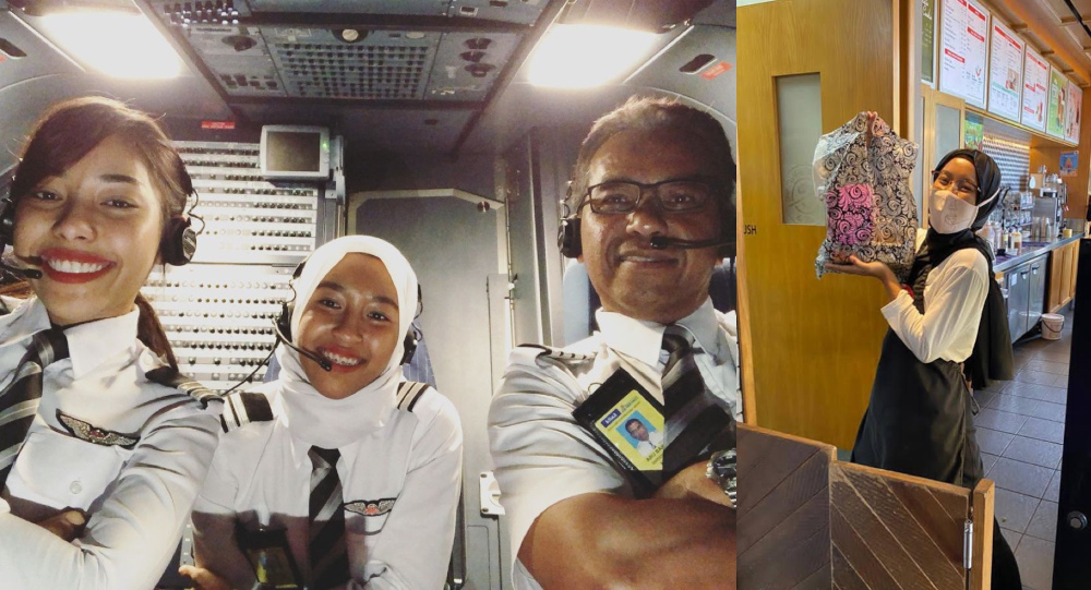 (From left) Safia Amira Abu Bakar and her sister Safia Anisa have been taking on alternative jobs to support their family as their father is set to retire soon. — Picture courtesy of AirAsia