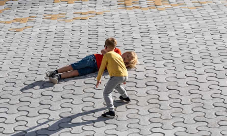 Two children play in Helsinki