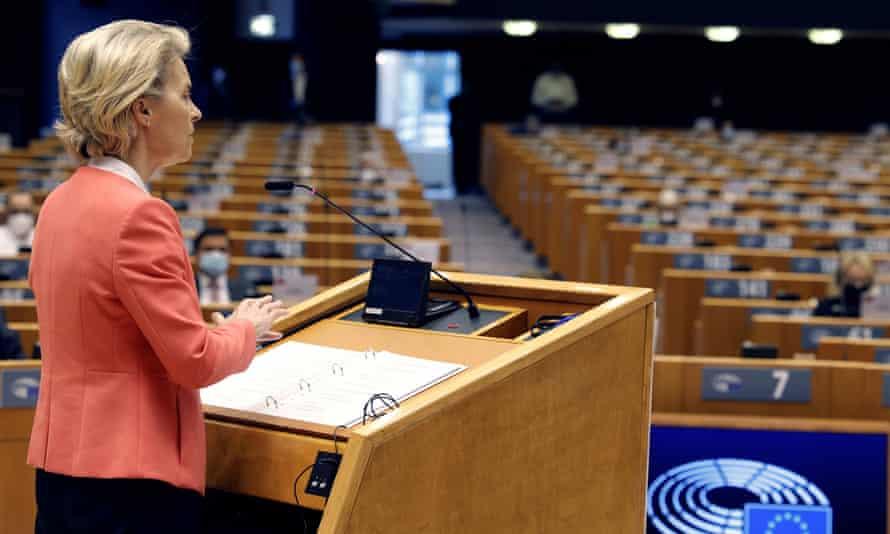 Ursula von der Leyen speaks during a debate on Turkey at the European parliament in Brussels.