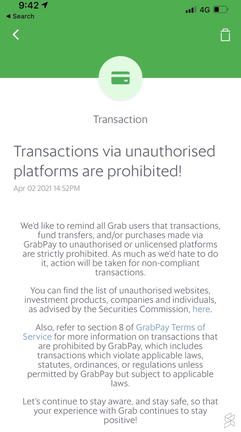 The notification from Grab. — SoyaCincau pic