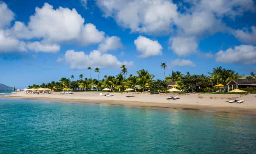 A beach on the Caribbean island of Nevis