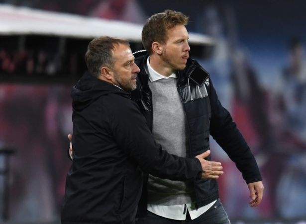 Bayern Munich coach Hansi Flick (left), and RB Leipzig coach Julian Nagelsmann
