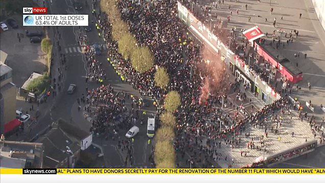 Aerial footage of Emirates stadium as fans protest