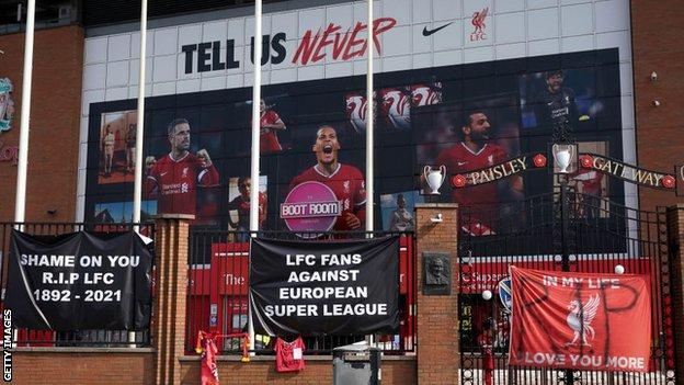 Protests outside Anfield