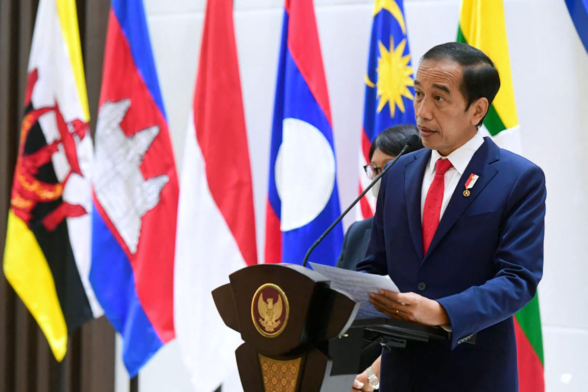 Indonesian President Joko Widodo delivering his speech at the Association of Southeast Asian Nations (ASEAN) summit in Jakarta on on April 24, 2021. (Indonesian Presidential Palace photo via AFP)