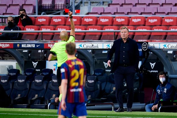 """Koeman was given his marching orders, although he insists he was on the receiving end of a """"rude"""" official"""