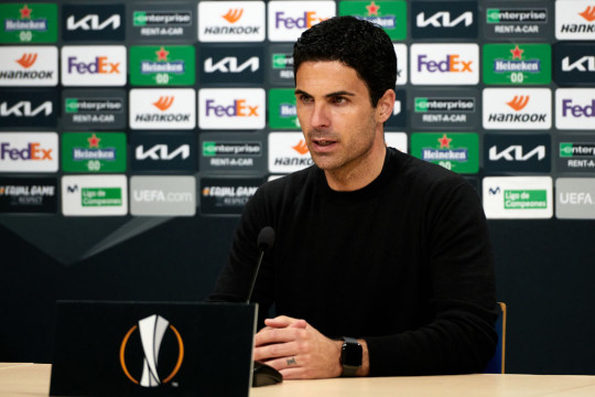 Head Coach of Arsenal FC Mikel Arteta answers questions during the press conference after the UEFA Europa League Semi-final First Leg match between Villareal CF and Arsenal at Estadio de la Ceramica on April 29, 2021 in Villarreal, Spain. Sporting stadiums around Europe remain under strict restrictions due to the Coronavirus Pandemic as Government social distancing laws prohibit fans inside venues resulting in games being played behind closed doors.
