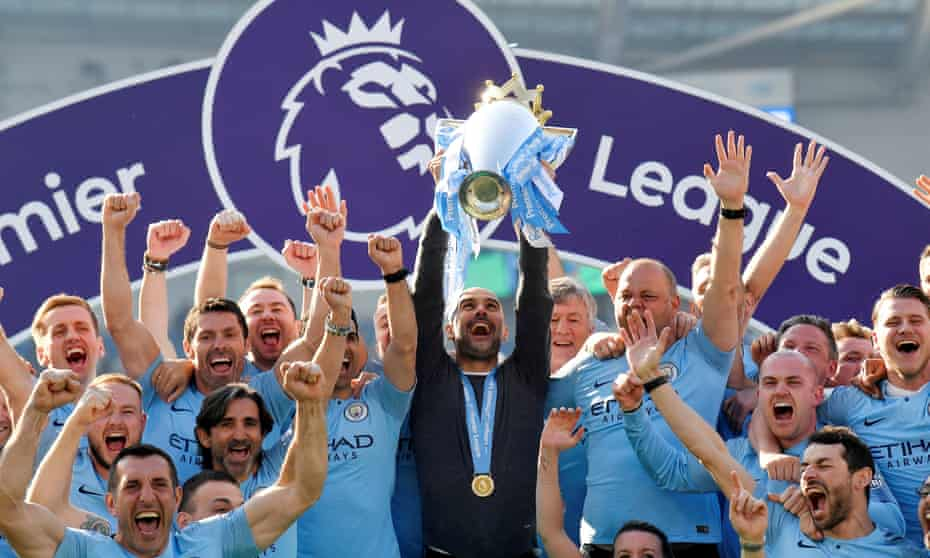 Manchester City celebrate the Premier League title in 2019.