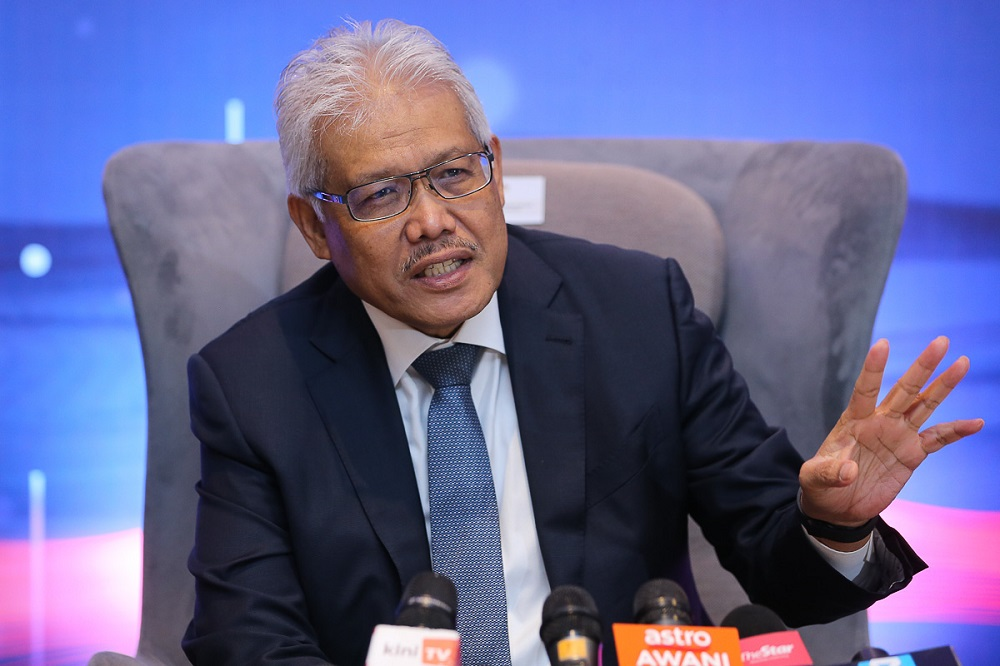 Home Minister Datuk Seri Hamzah Zainudin speaks during a press conference at the Le Meridien Hotel in Putrajaya April 15, 2021. ― Picture by Yusof Mat Isa
