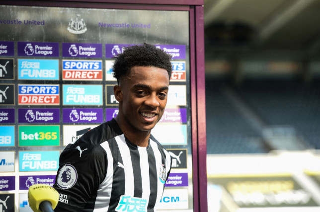 Joe Willock #28 of Newcastle United fields questions from the media during the Premier League match between Newcastle United and West Ham United at St. James Park on April 17, 2021 in Newcastle upon Tyne, England. Sporting stadiums around the UK remain under strict restrictions due to the Coronavirus Pandemic as Government social distancing laws prohibit fans inside venues resulting in games being played behind closed doors.